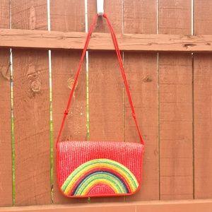 Handbags - Vintage 1970's rainbow wicker woven crossbody